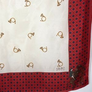 Echo Accessories - Echo Club 7 Silk Scarf Cream Red Horns Horse Show